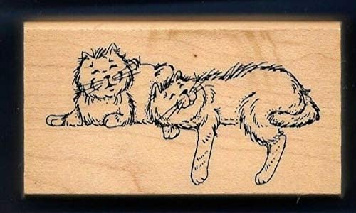 Wooden Rubberized Stamps for Card Making Cats FELINES Happy House Pet Sill Sitters Art Impressions F-1263 Rubber Stamp