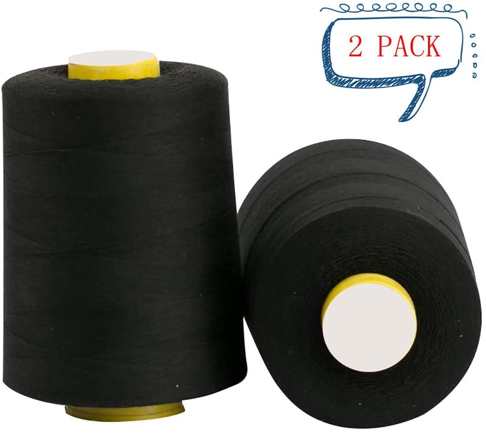 ChezMax 2 Pack Black All Purpose Sewing Thread Cones 8500 Yards of High Tensile Polyester Thread Spools for Hand Machine Sewing Quilting Overlock and Hand Embroidery