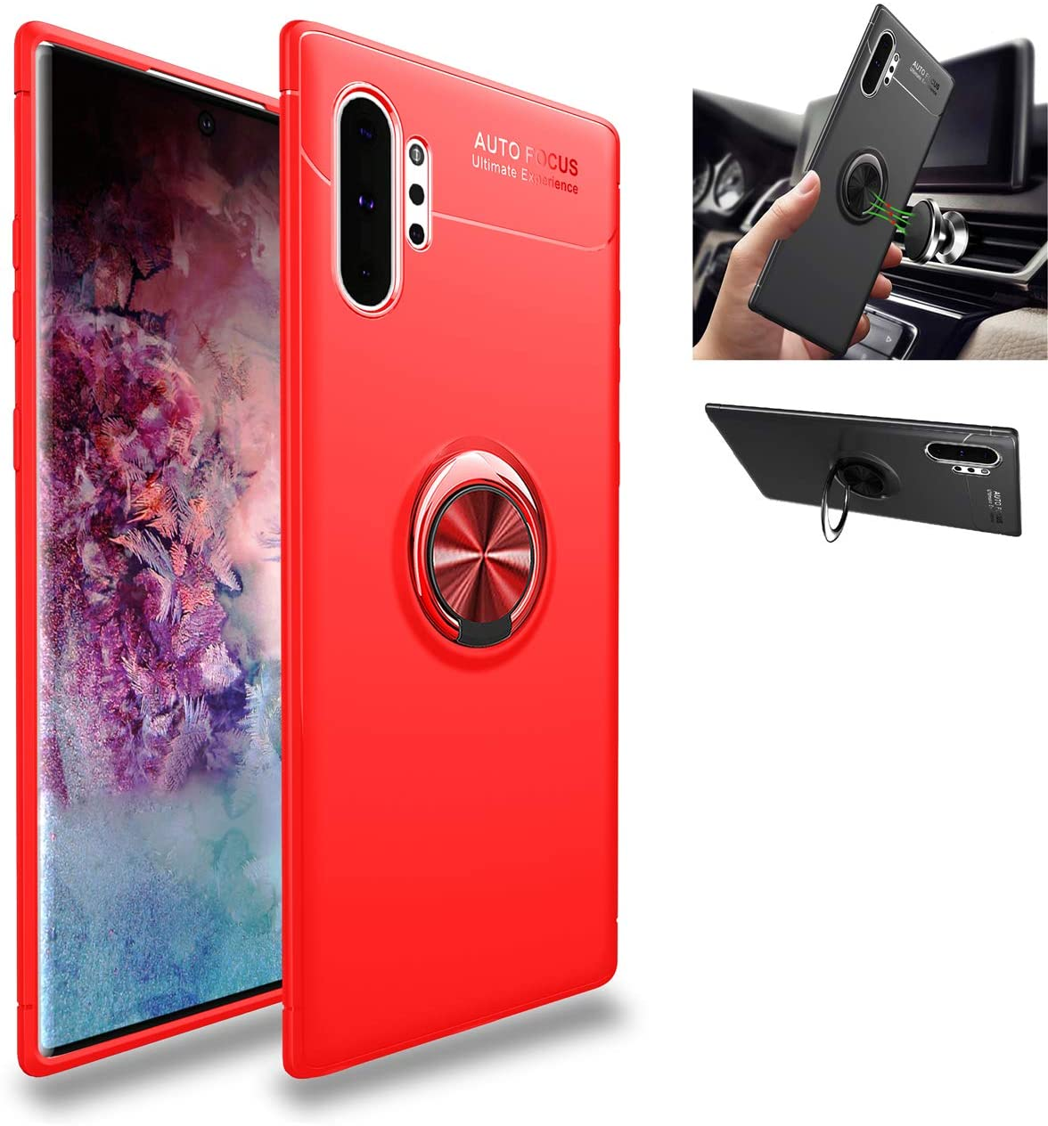 Galaxy Note 10 Pro case,Silicone Shockproof Cover,zinc Alloy 360° Rotating Kickstand car Holder Ultra Thin Protection Scrub Soft case,for Samsung Galaxy Note 10 Pro (Red/Red)
