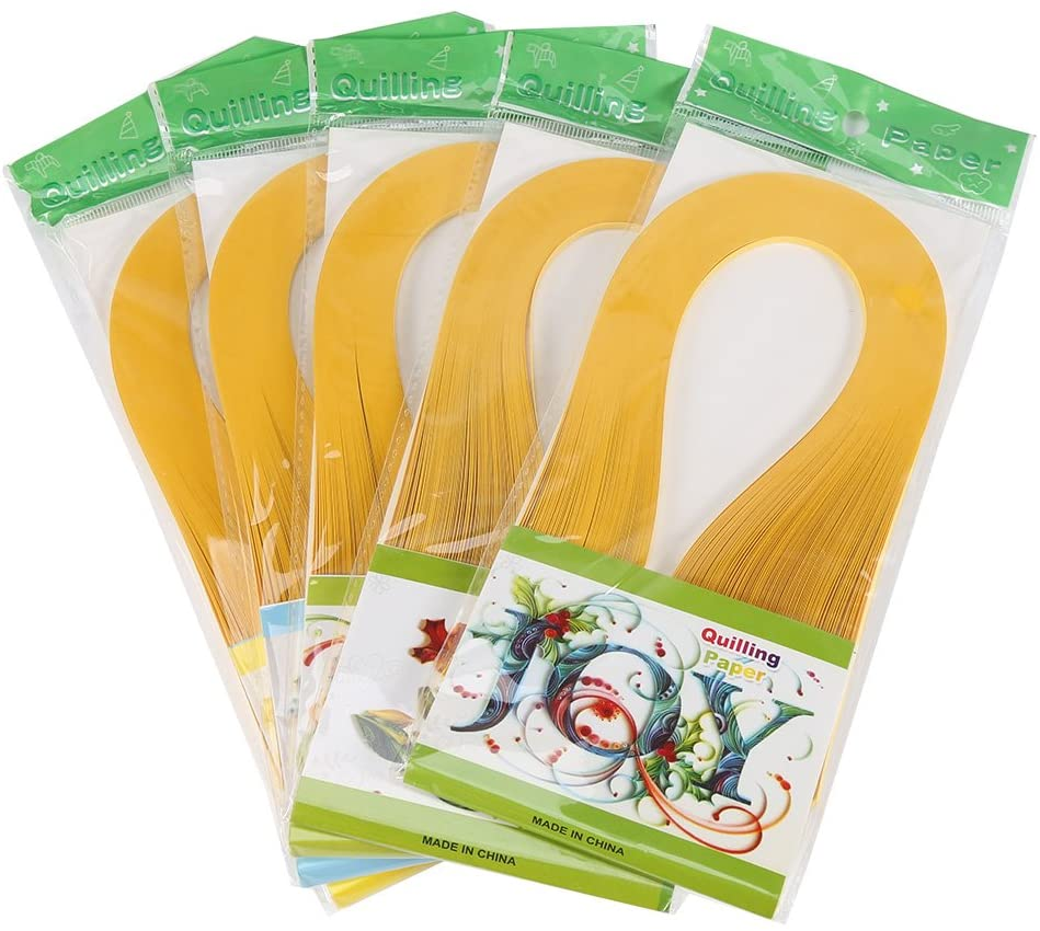 Quilling Strips,600 Strips Pure Colors 3x39cm Quilling Paper Strips Quilling Paper Set DIY Origami Hand Craft Paper(Dark Yellow)