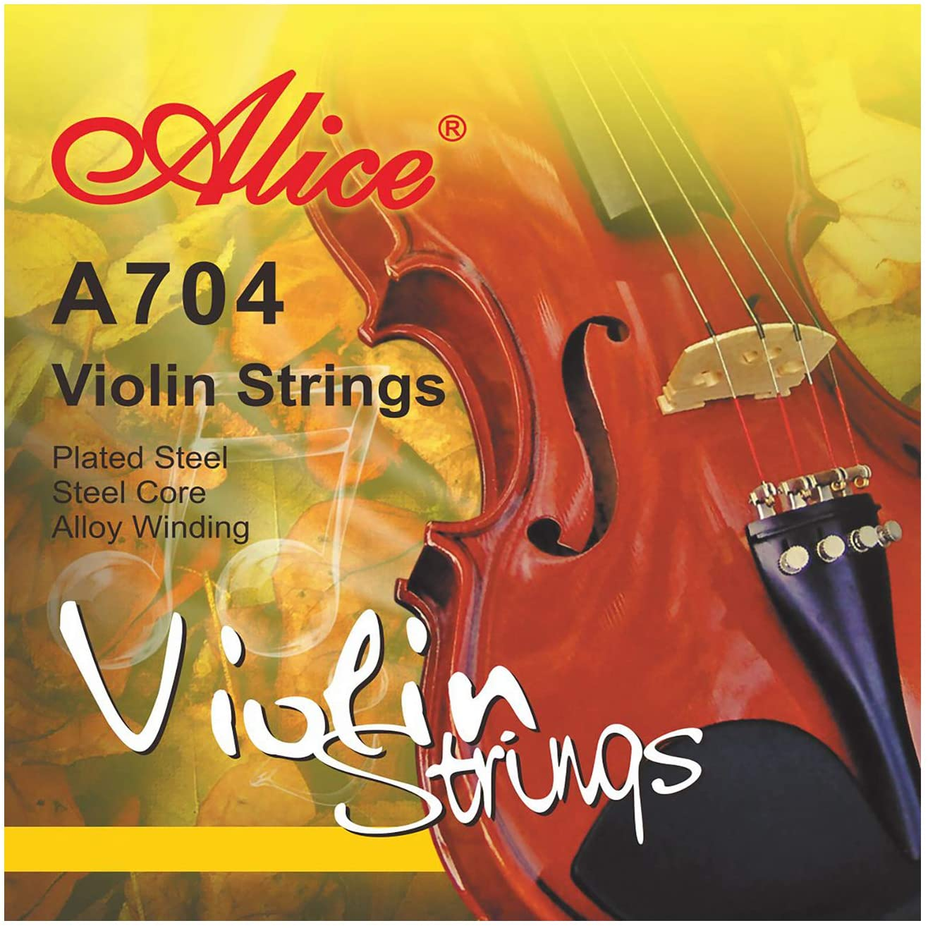 Alice Violin Strings 4/4 Size Steel Core Strings with Al-Mg and Ni-Fe Winding, Nickel-plated Ball-end for Violins Beginners, 3 Packs Set