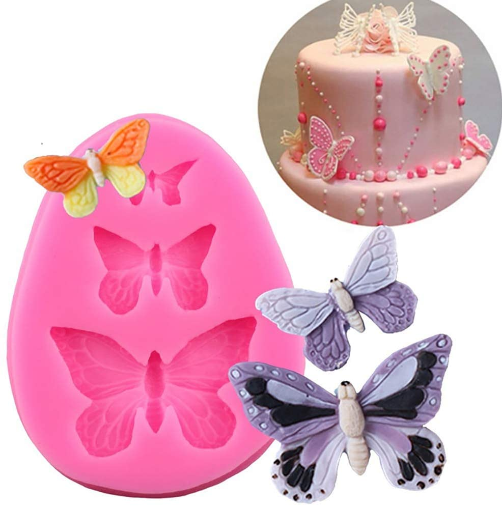 FAFAHOUSE 3 Pieces Butterfly Silicone Molds Mini Butterfly Fondant Cake Baking Mold Cupcake Decoration Tool for Homemade Cake DIY Polymer Clay