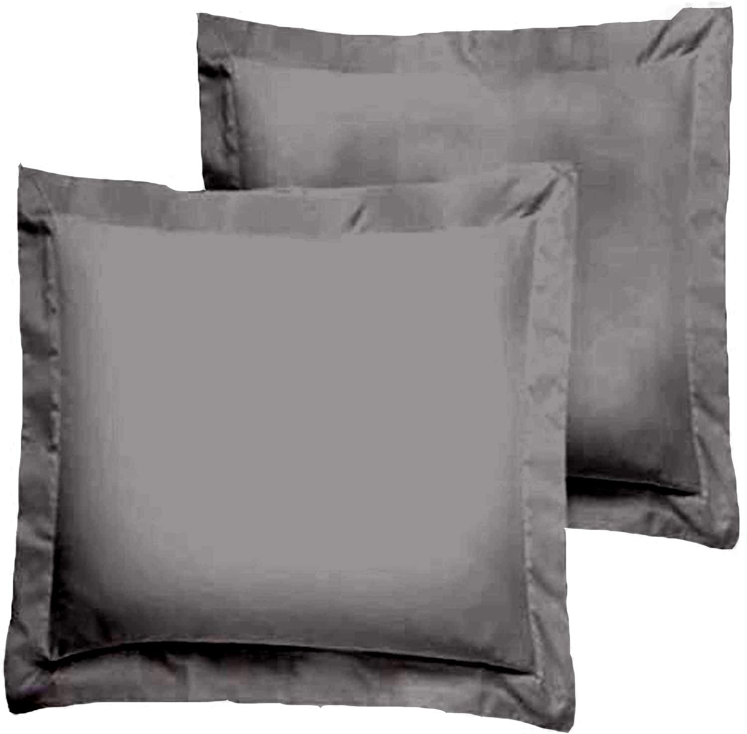 Trust Layer 800 Thread Count 100% Organic Cotton Throw Pillow Sized 16 x 16 inch Pillow Shams Set of 2 Dark Grey Solid