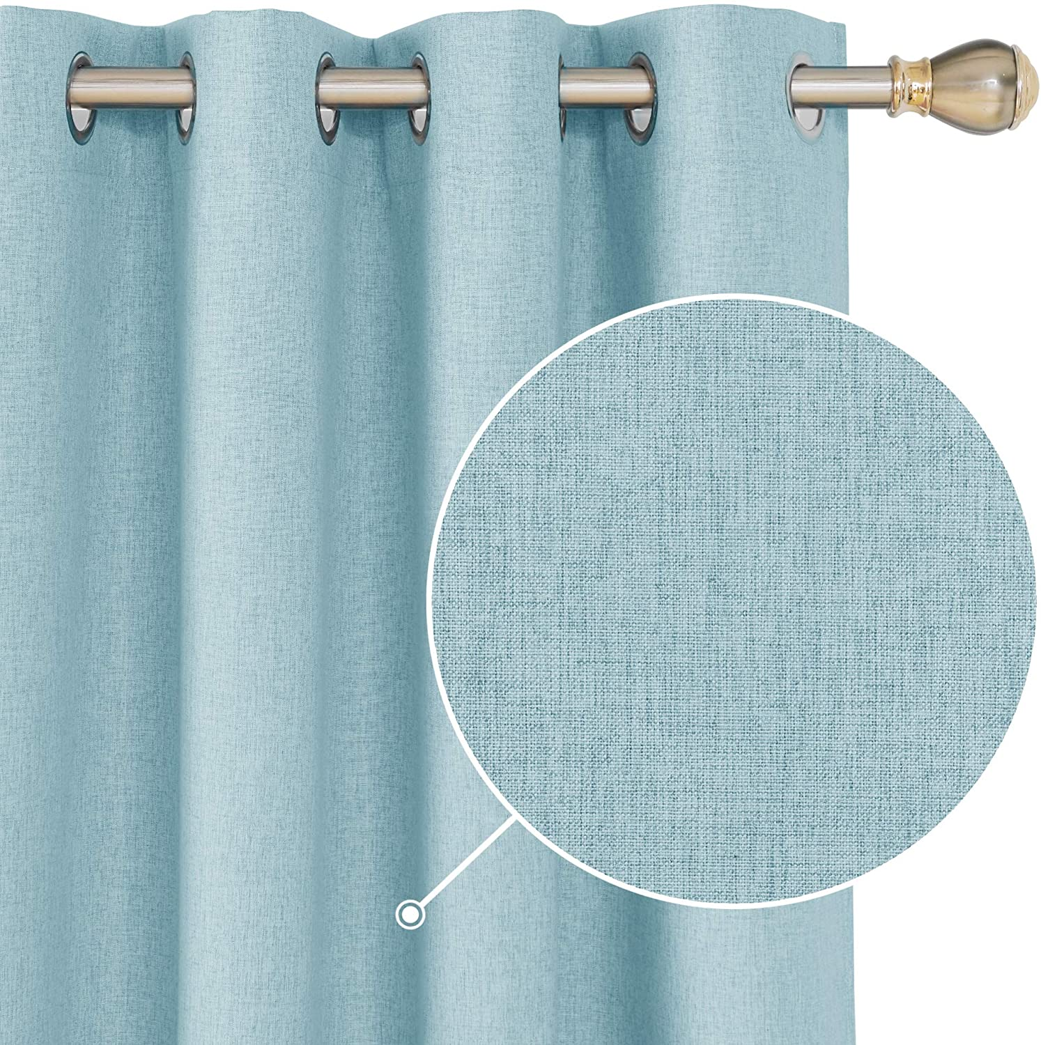 Deconovo Total Blackout Curtains Grommet Thermal Insulated Energy Saving Curtains Room Darkening Drapes for Nursery Room Turquoise 52x54 Inch Set of 2
