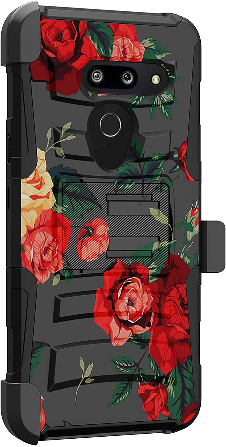 MINITURTLE Compatible with LG G8, LG G8 ThinQ G820 Shockproof Rugged Dual Layer Case Kickstand Armor Holster Clip [Clip Armor] - Vibrant Roses