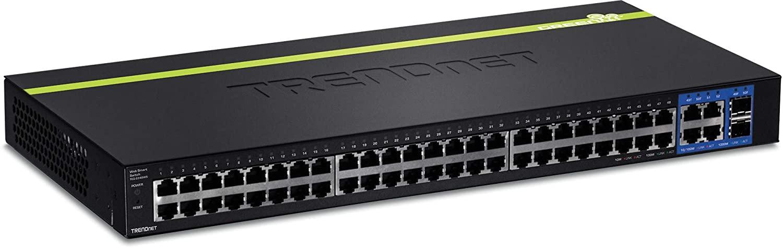 TRENDnet 48-Port 10/100 Mbps Web Smart Switch, Gigabit Uplink Ports, SFP, 17.6 Gbps Switching Capacity, Fanless, Rack Mountable, Lifetime Protection, TEG-2248WS