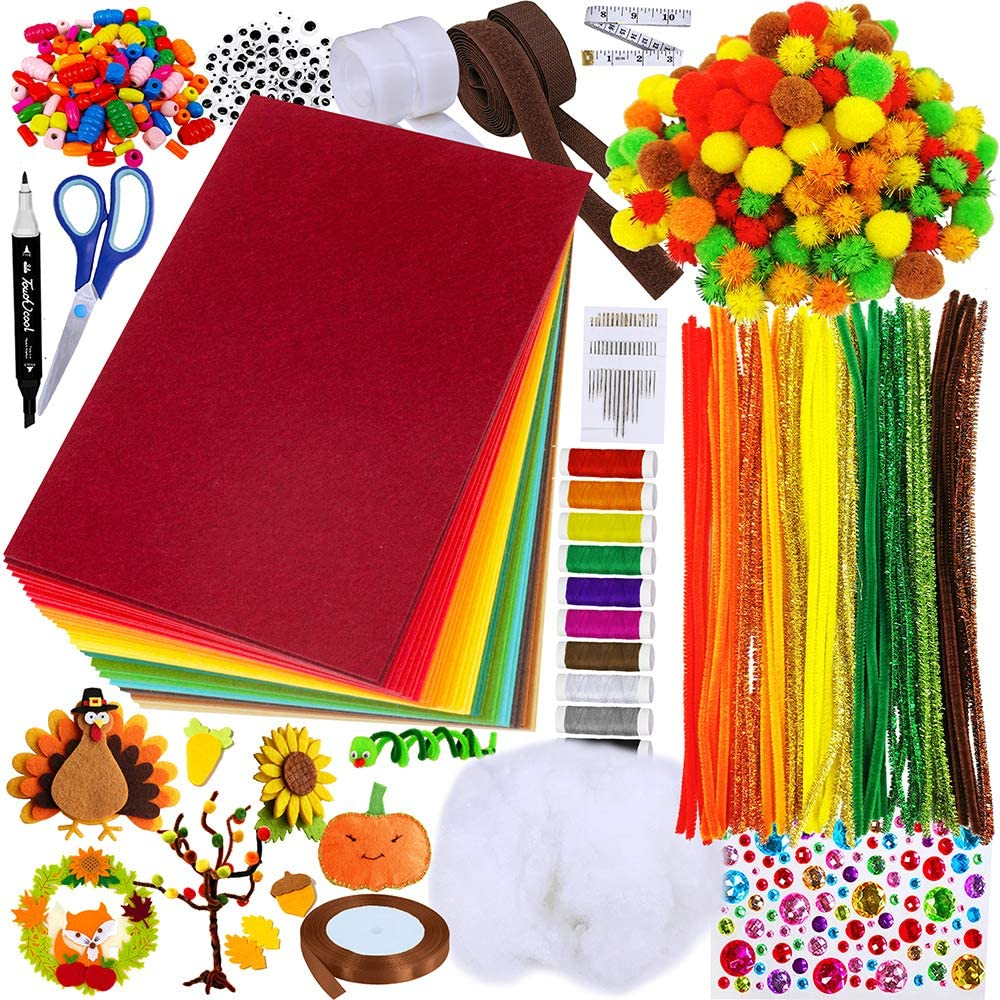 Winlyn Bulk Fall Craft Kit Autumn Pipe Cleaners Pom-Poms Hard Felt Sheets Wood Beads Googly Eyes for Kids Adults Halloween Thanksgiving Holiday Activity Patchwork Embroidery Sewing Crafting Project
