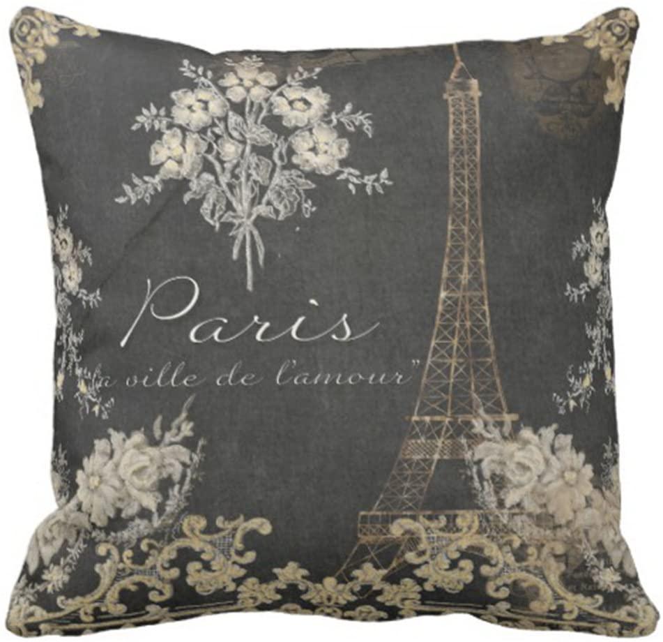 Emvency Throw Pillow Cover Black Vintage Paris City of Love Eiffel Tower Chalkboard Tan Antique Decorative Pillow Case Home Decor Square 20 x 20 Inch Pillowcase