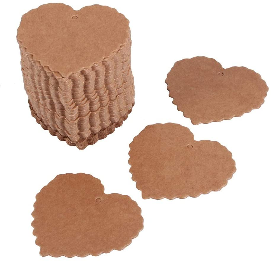 VIFERR 100 Pieces Kraft Paper Gift Heart Paper Tags Twine String, Multi-Purpose for DIY Crafts & Present Tags