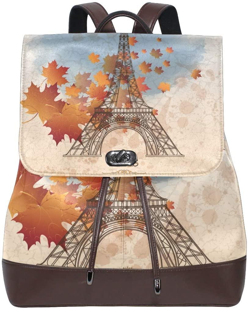 Leather Leaf Paris Eiffel Tower Backpack Purse for Women Girls School Bookbag Travel Shoulder Bag