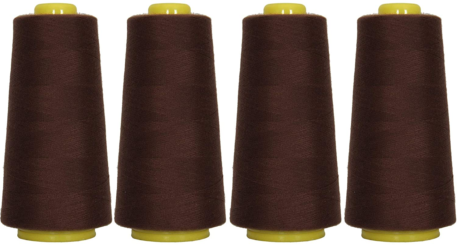 Threadart Polyester Serger Thread - 2750 yds 40/2 - Chocolate - 56 Colors Available - 4 Cone Bundle Pack