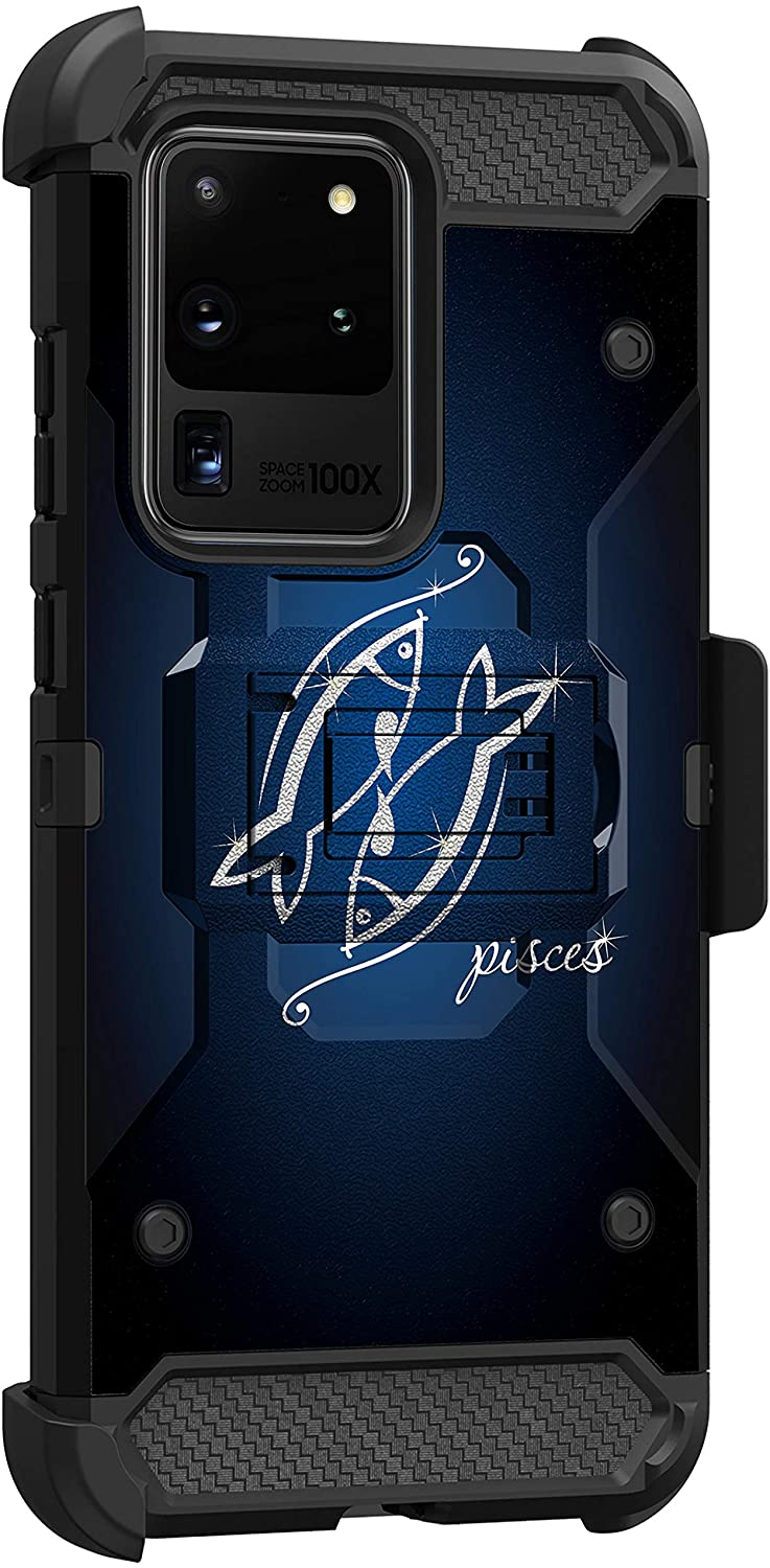 MINITURTLE Compatible with Samsung Galaxy S20 Ultra Armor Shockproof Triple Layer Holster Belt Clip Kickstand Case Cover [Max Guard] - Pisces