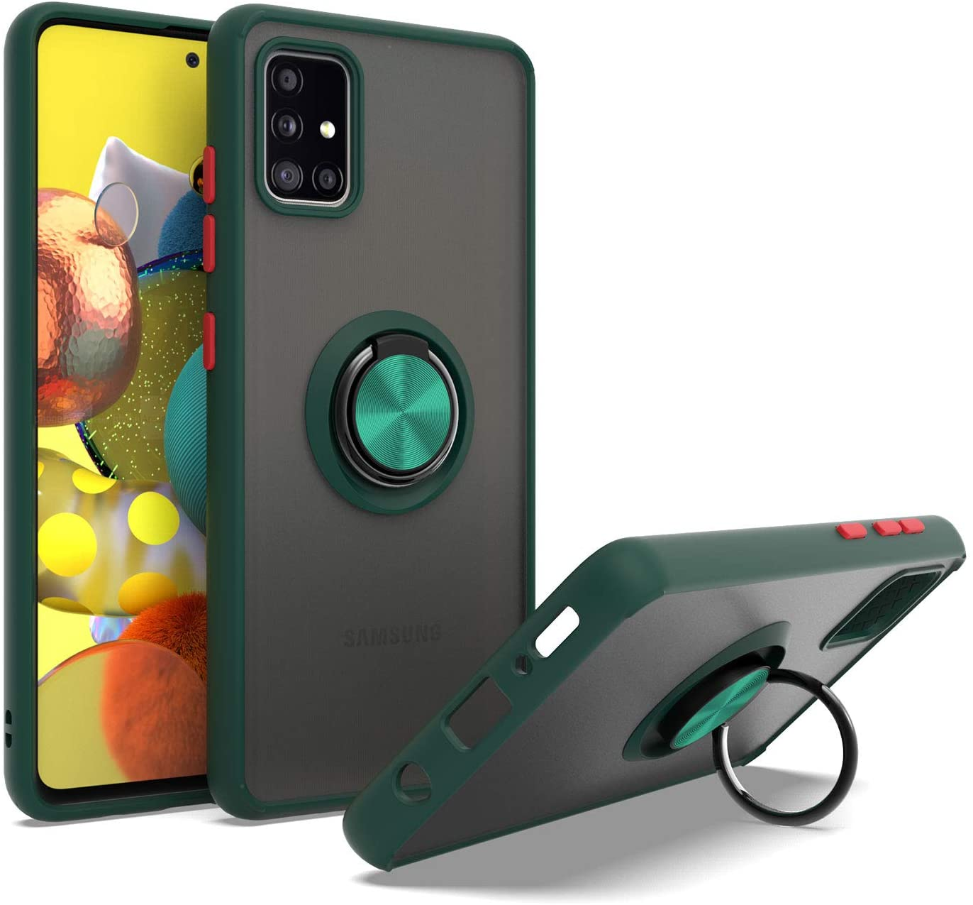 EnCASEs Cell Phone Case for Samsung Galaxy A51 5G, Slim TPU with Metal Ring Kickstand, Shockproof Bumper Protection Case, Green