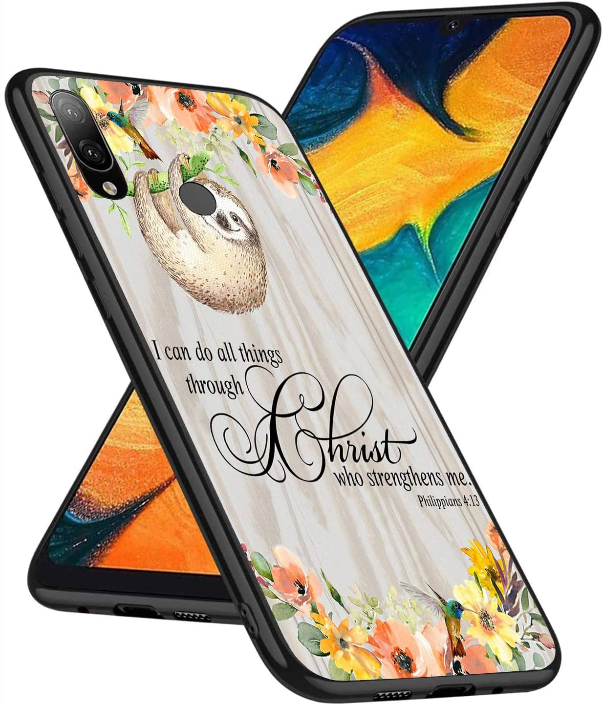 Galaxy A30 Case, Galaxy A20 Case, Slim Fit Full-Body Bumper Soft TPU Soft Silicone Case for Samsung Galaxy A30/A20, Philippians 4-13 Christian Quotes Bible Scripture Inspirational Fun Sloth Flower