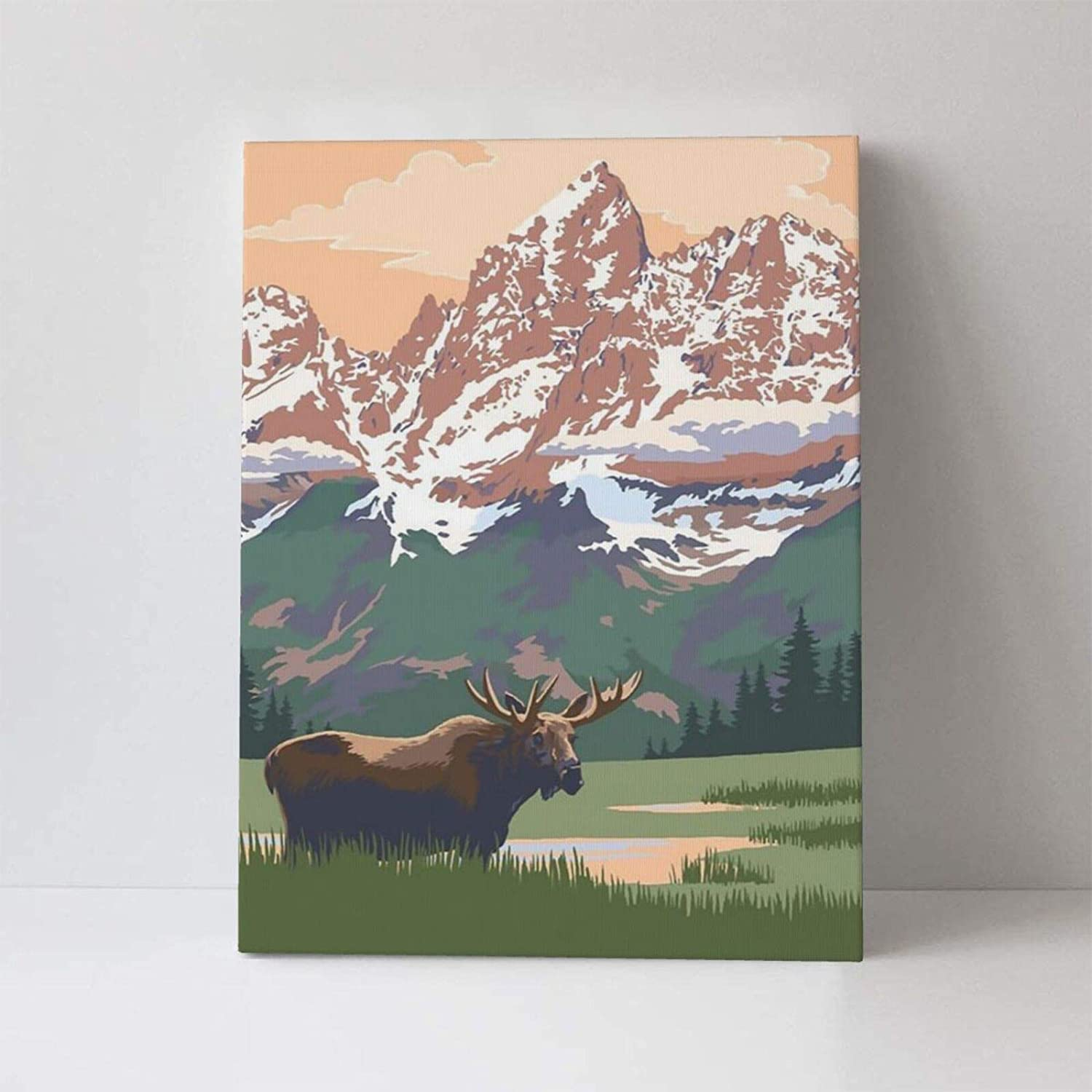 TMVFPYR Grand Teton National Park - Moose and Mountains Canvas Prints Wall Art Picture Decor Artwork Paintings for Living Room Bedroom Home Decorations Modern Framed Ready to Hang