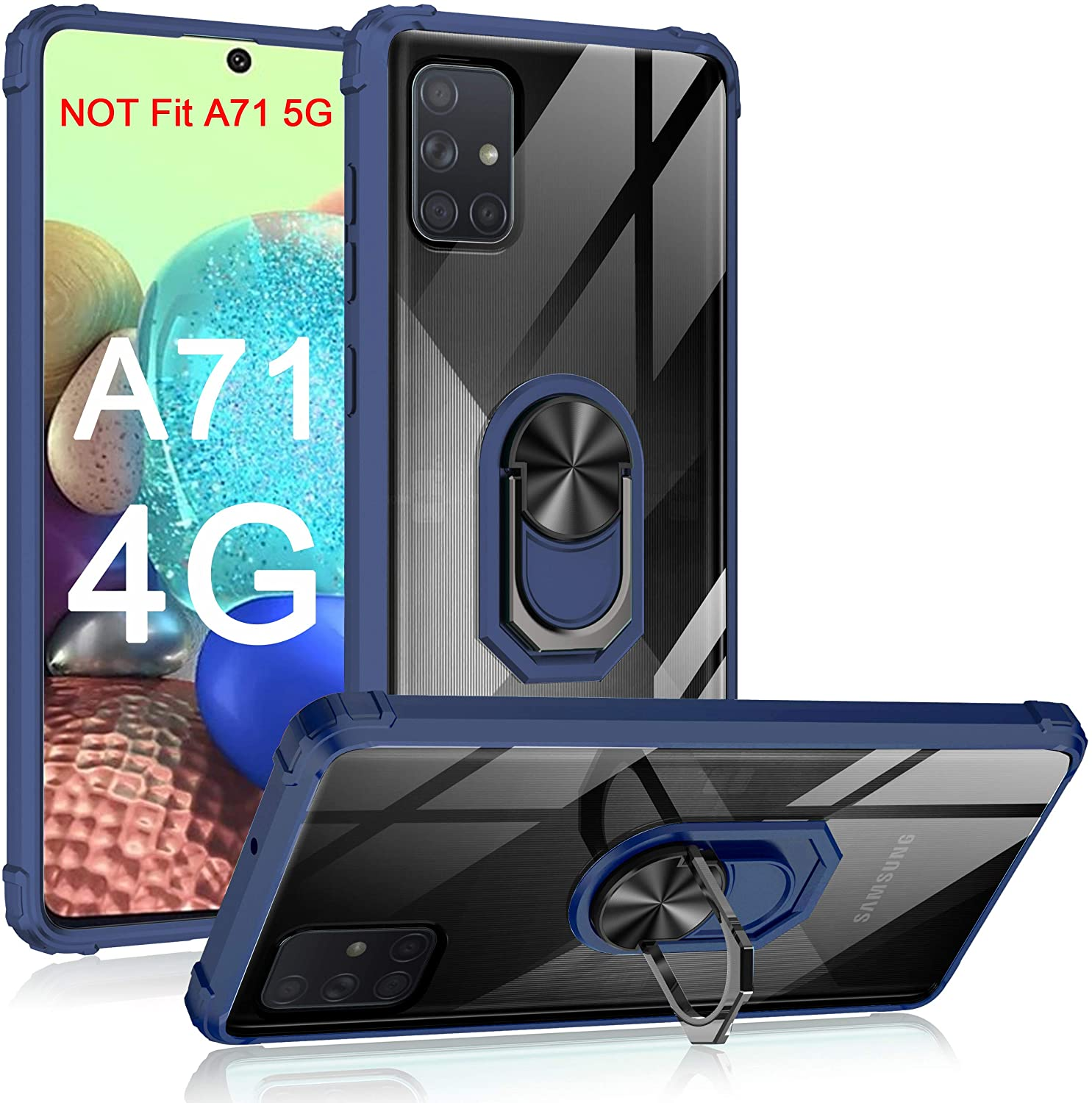 Samsung Galaxy A71 Case 4G Version, Military Grade Transparent Clear PC Back Shockproof TPU Rubber Rugged Armor Phone Case with Magnetic Ring Car Kickstand for Samsung A71 4G (Navyblue)
