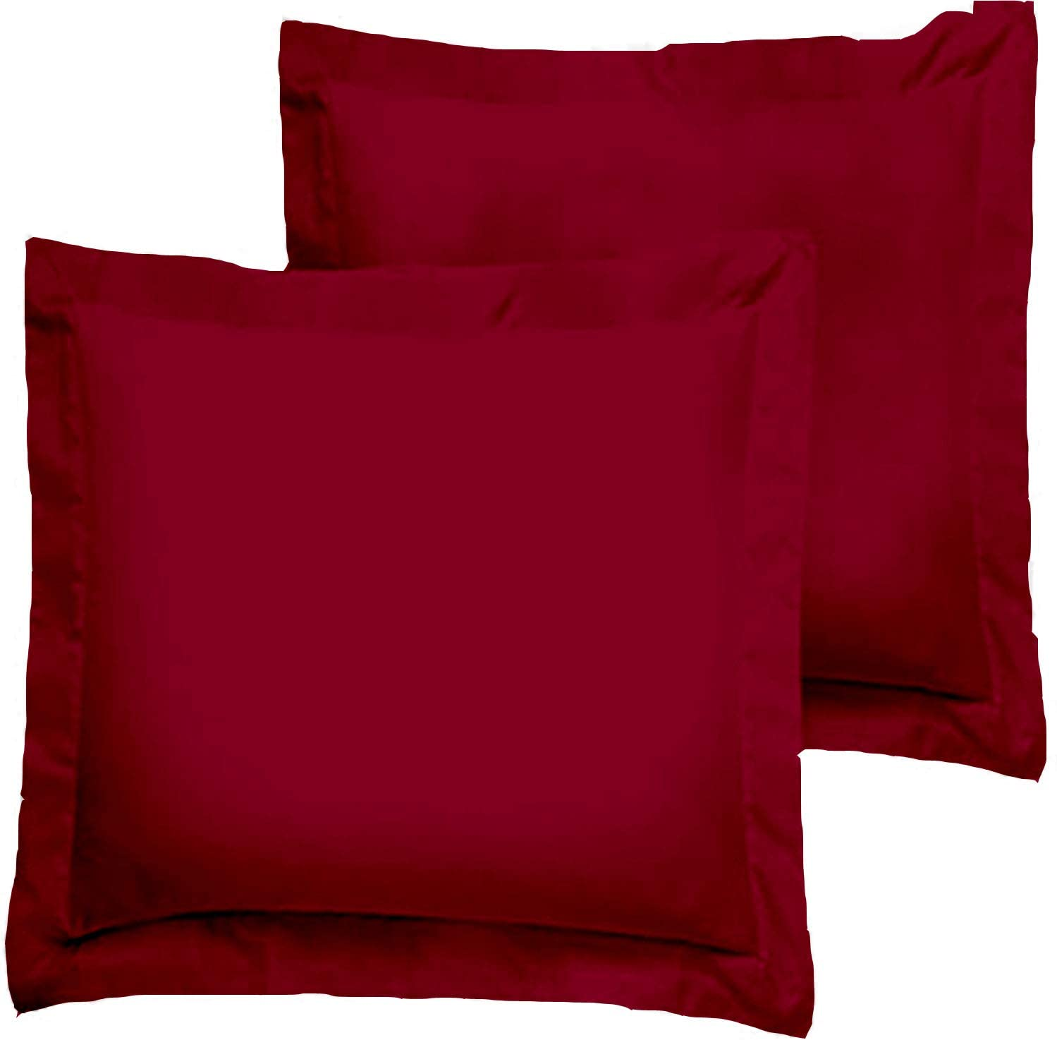 Trust Layer 800 Thread Count 100% Organic Cotton Throw Pillow Sized 20 x 20 inch Pillow Shams Set of 2 Burgundy Solid