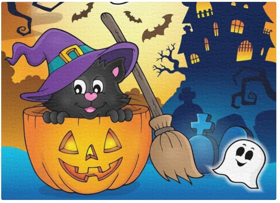 300 Pieces Jigsaw Puzzle Custom Funny Novelty Halloween Cat DIY Toys for Adult Children Gift HomeDecoration