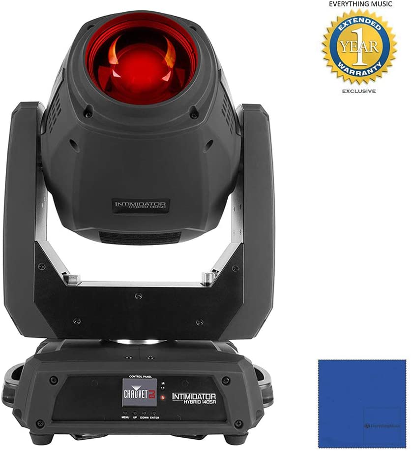 CHAUVET DJ Intimidator Hybrid 140SR Moving Head Beam with Microfiber and 1 Year Everything Music Extended Warranty
