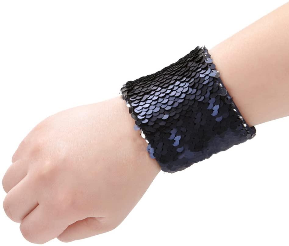 TINKSKY Mermaid Bracelet Reversible Charm Sequins Slap Wristband Bracelet Magic Calming Bracelets for Birthday Party Favors (Navy Blue and Silver)