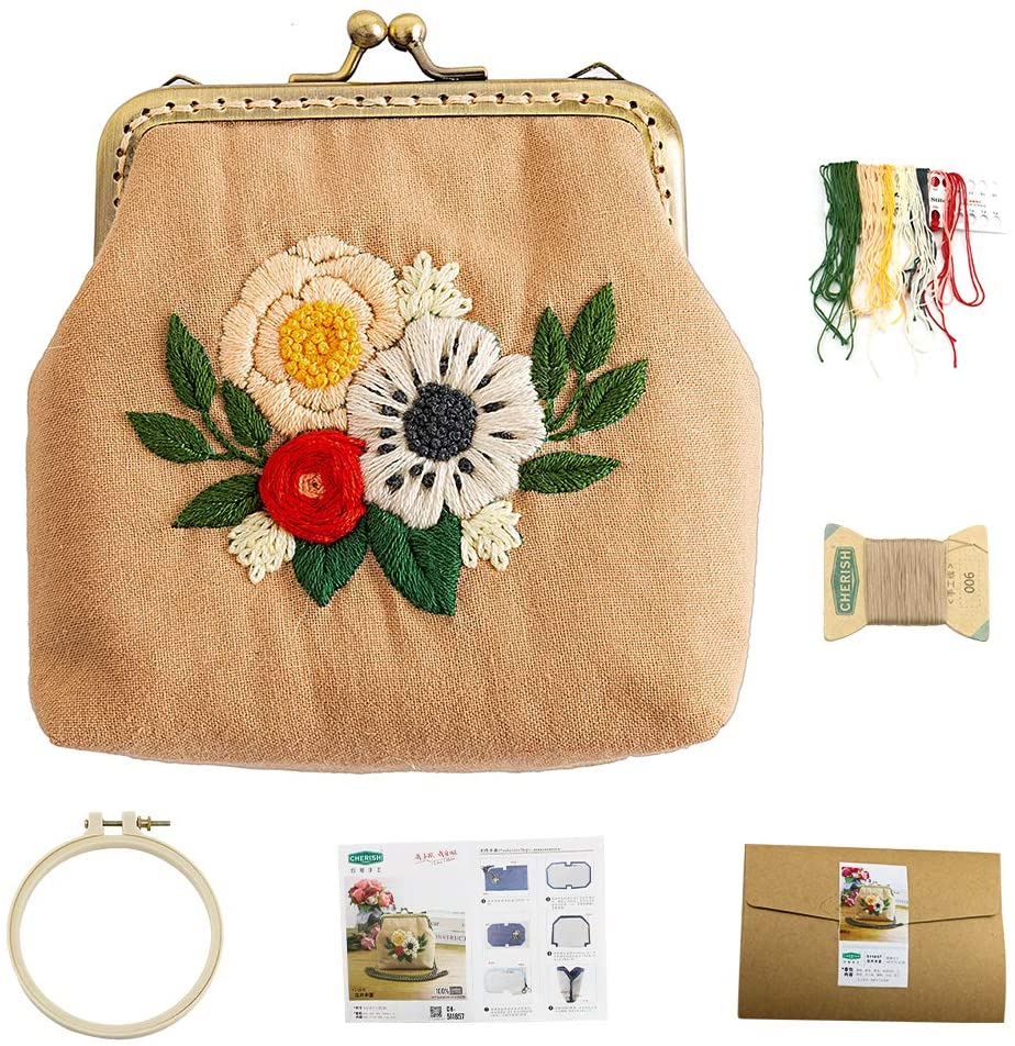 Chinese Traditional Retro Style Embroidery Purse Making Kits Handmade DIY Kiss Lock Coin Purse Making Supplies (Summer Flowers)