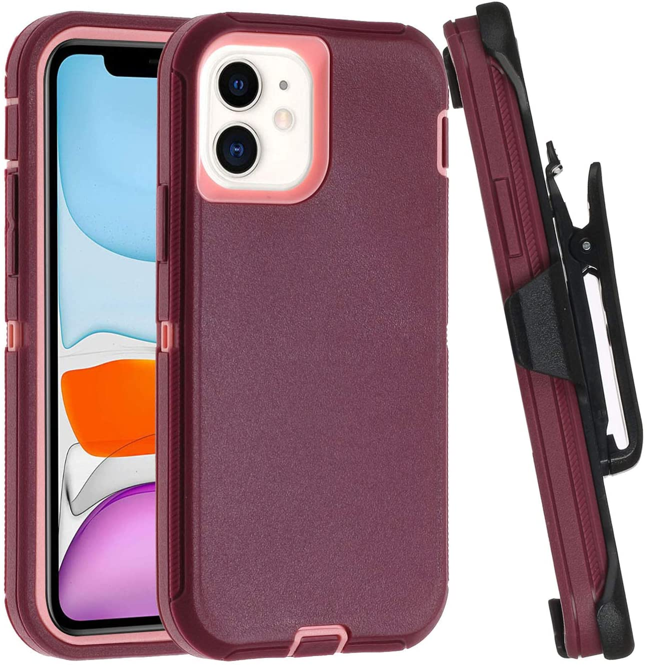 for iPhone 12 Pro Max Case,3 in 1 Shockproof&Drop&Dust Proof Heavy Duty Holster Case Belt Clip and Armor Protective Kickstand Cover(iPhone 12 Pro Max 6.7