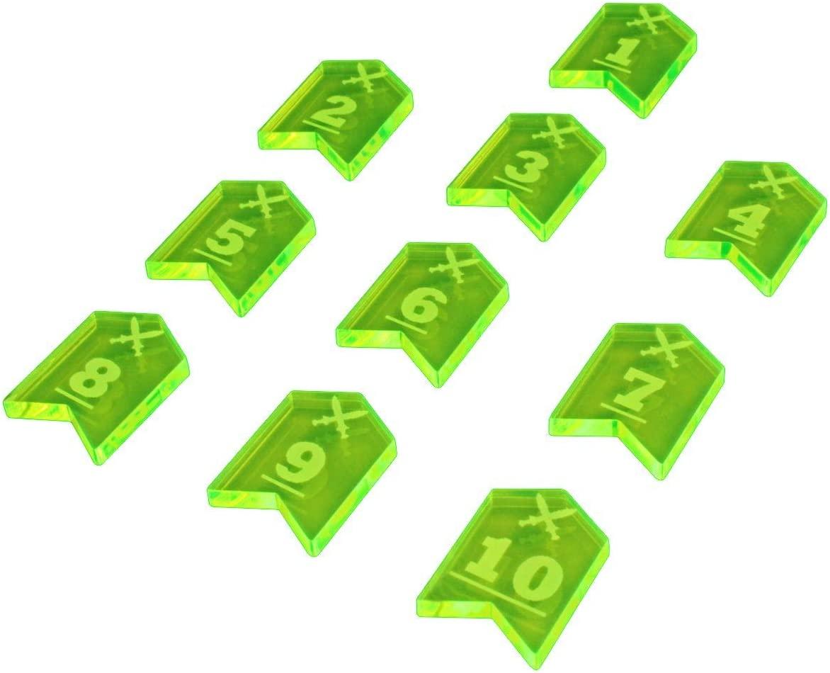 LITKO Fantasy RPG Initiative Token Set #1-10, Fluorescent Green (10)