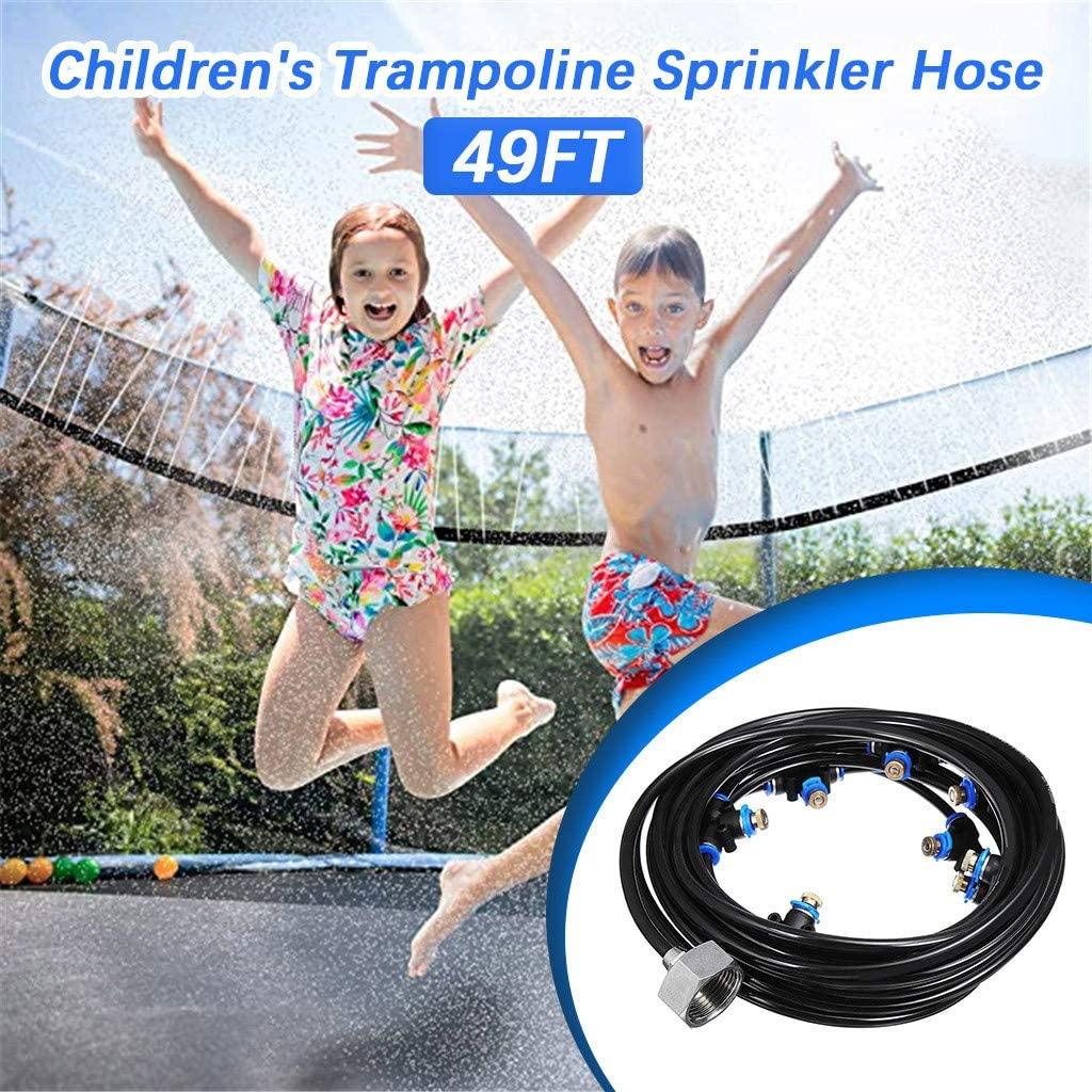 Aconka Sprinkler Hose for Trampoline, 49FT Trampoline Sprinkler Hose Household Waterpark Summer Water Toys Trampoline Accessories for Kids Outside Garden