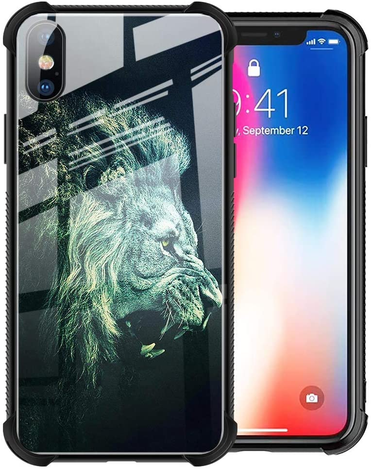 YiXinBB iPhone Xs Case, Cool Lion iPhone X Case for Boy Men Fashion Animal Design 9H Tempered Glass Black Cover Slim Fit Shockproof TPU Bumper Case for iPhone X/Xs 5.8inch, Green Lion