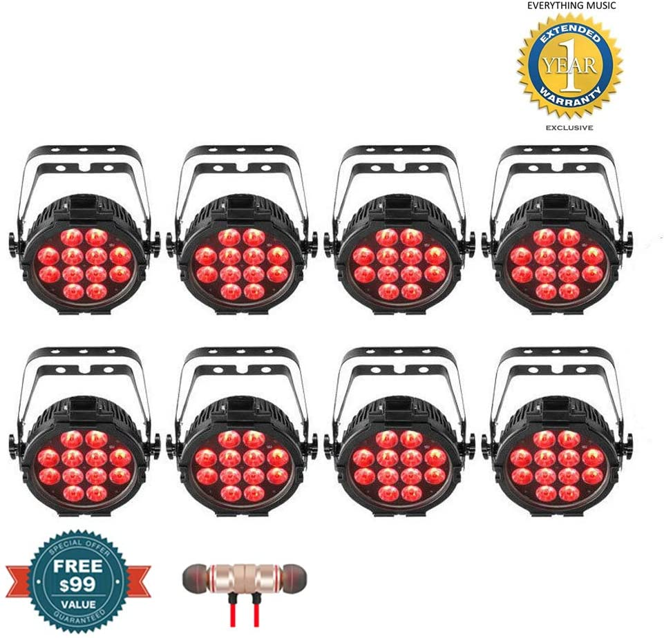 8 x Chauvet DJ SlimPAR Pro Q USB Wireless DMX RGBA LED Wash Light with D-Fi USB Compatibility includes Free Wireless Earbuds - Stereo Bluetooth In-ear and 1 Year Everything Music Extended Warranty