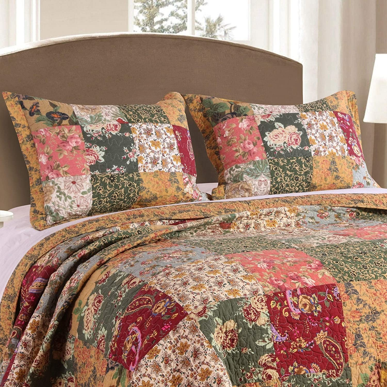 Antique Chic King-Size Pillow Shams (Set of 2) - Multi Patchwork Cotton Set of 2