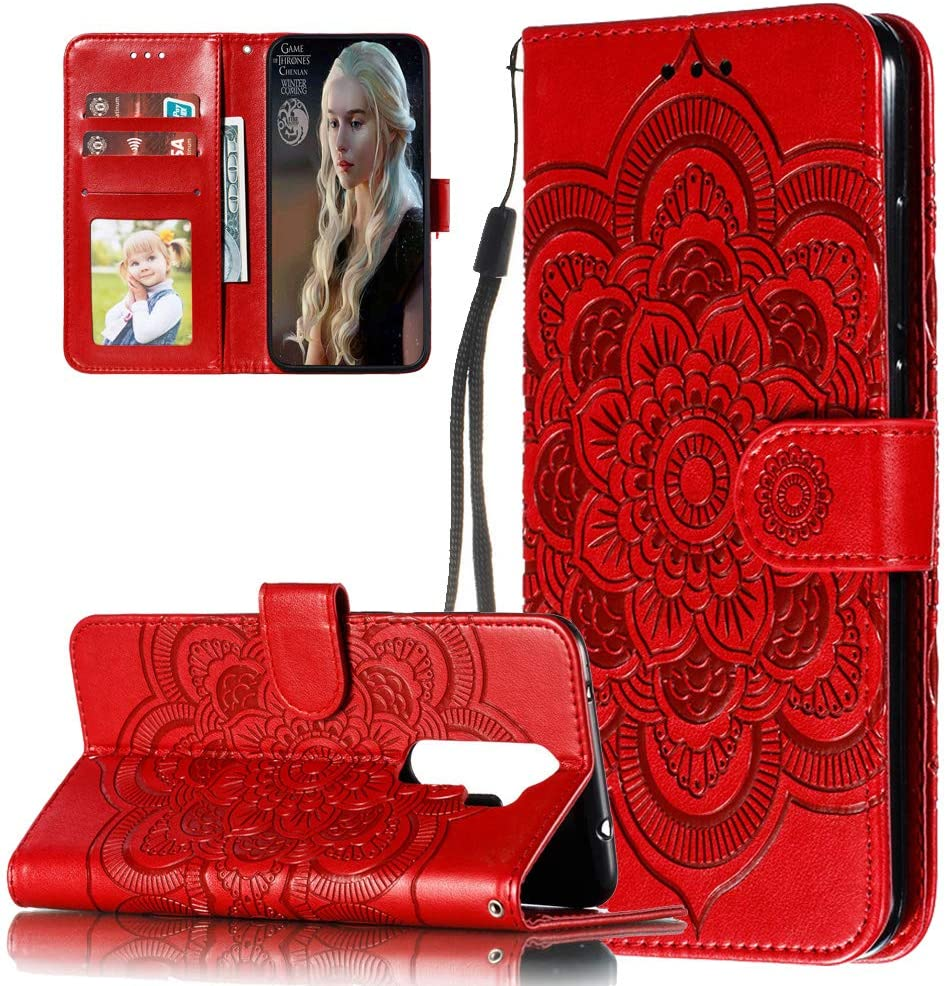 ISADENSER Phone Case for Redmi Note 8 Pro, Redmi Note 8 Pro Flip Case Elegant Embossing Totem Wallet PU Leather Book Style Card Slot Cover Compatible for Xiaomi Redmi Note 8 Pro Mandala Red LD