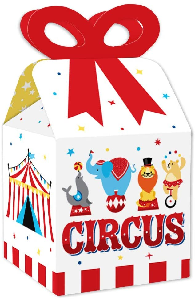 Big Dot of Happiness Carnival - Step Right Up Circus - Square Favor Gift Boxes - Carnival Themed Party Bow Boxes - Set of 12
