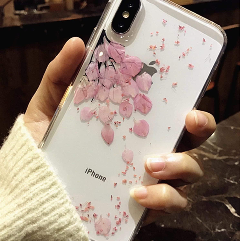 iPhone Xs Case (5.8 inch), Real Sakura Flower Phone Cover, Shock-Absorption Bumper Cover, Anti-Scratch Clear Back (Sakura, iPhone Xs)