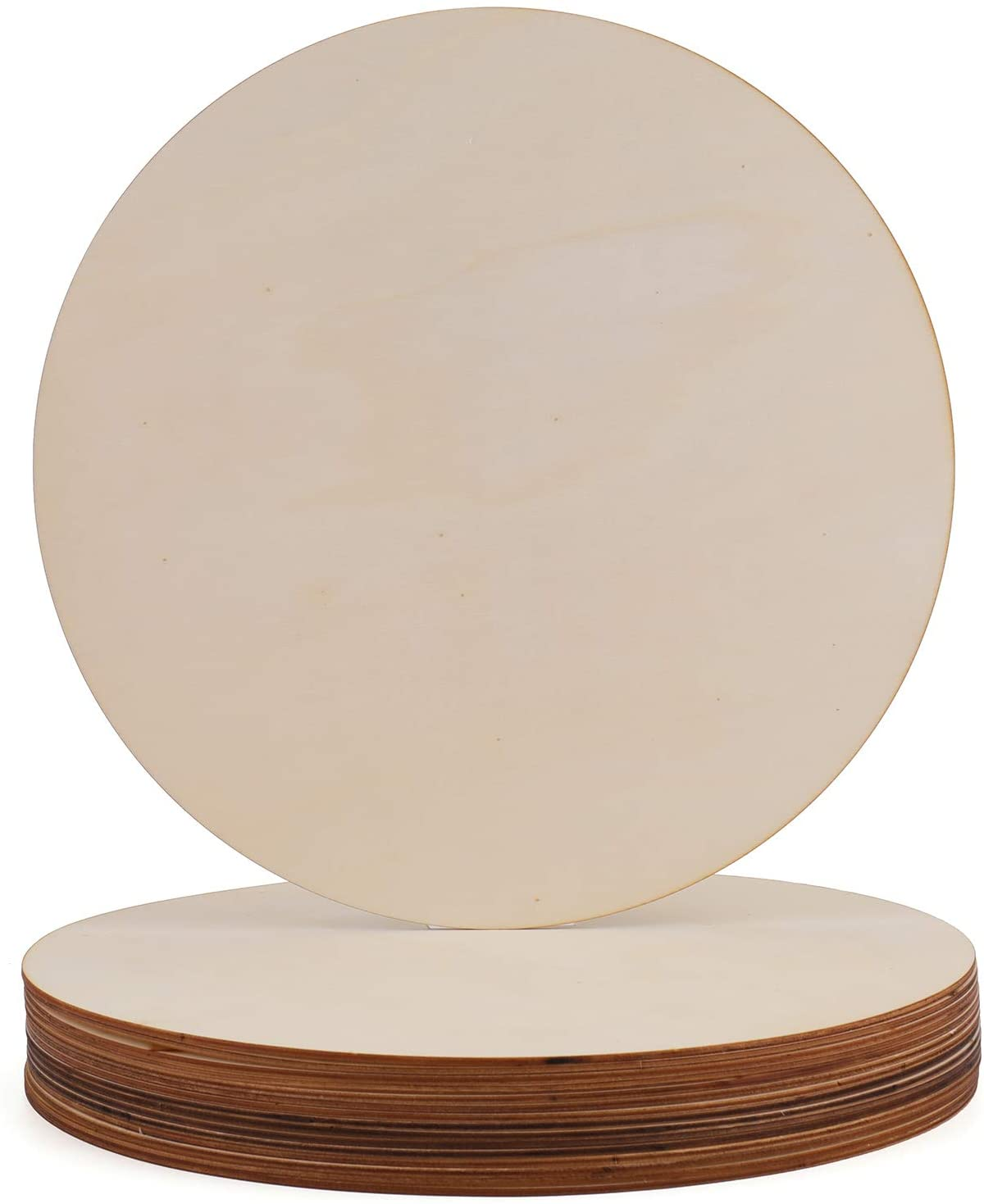 Foraineam 16 Pieces Unfinished Wood Circle Cutouts 11.8 Inch Round Natural Wooden Craft Circles Slices