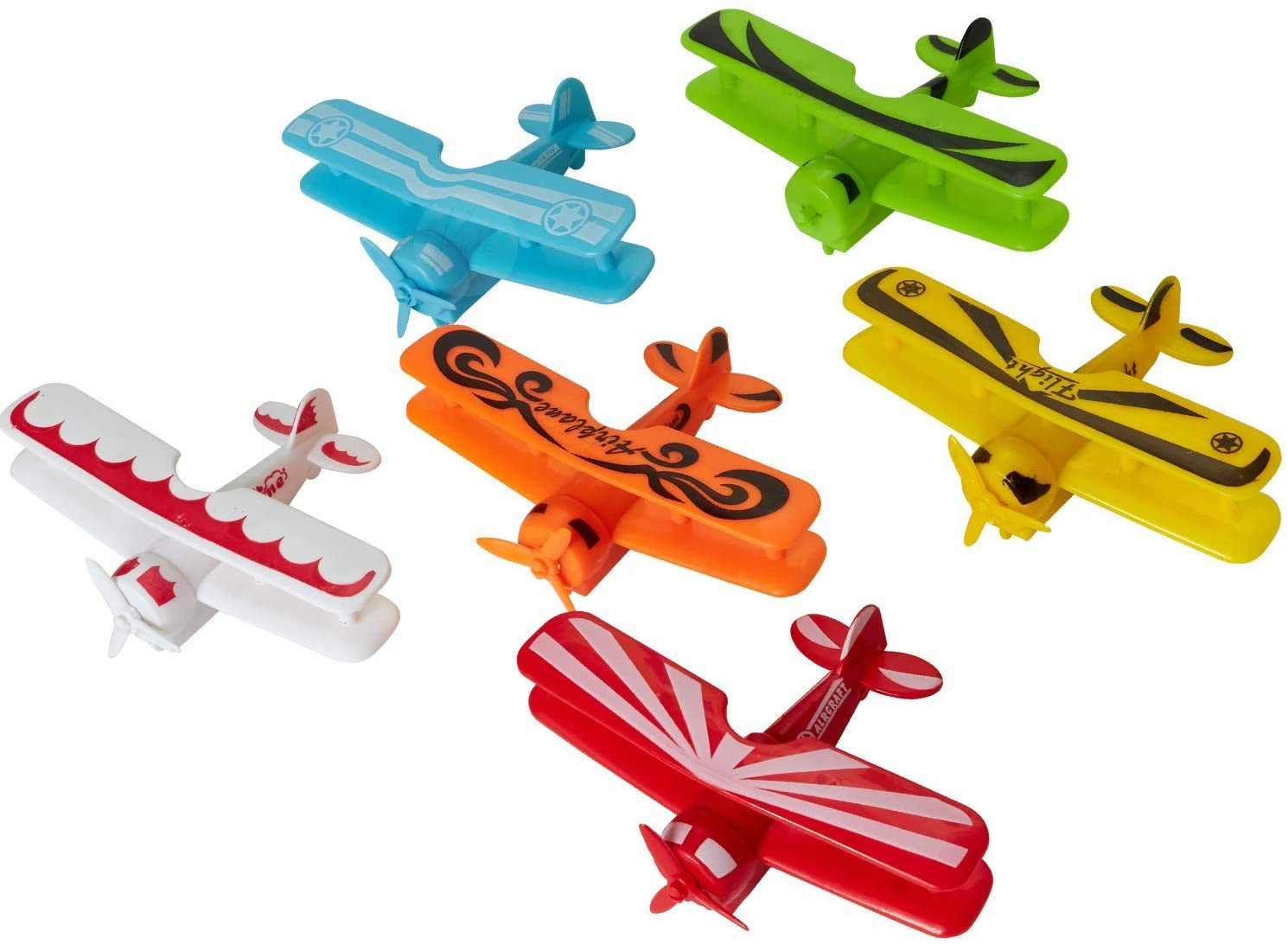 Kicko Pull Back Airplane Toys - Plastic Friction Plane - for Gifts, Party Favors, School Supplies - Assorted Colors, 4.5 Inch, 6 Pack