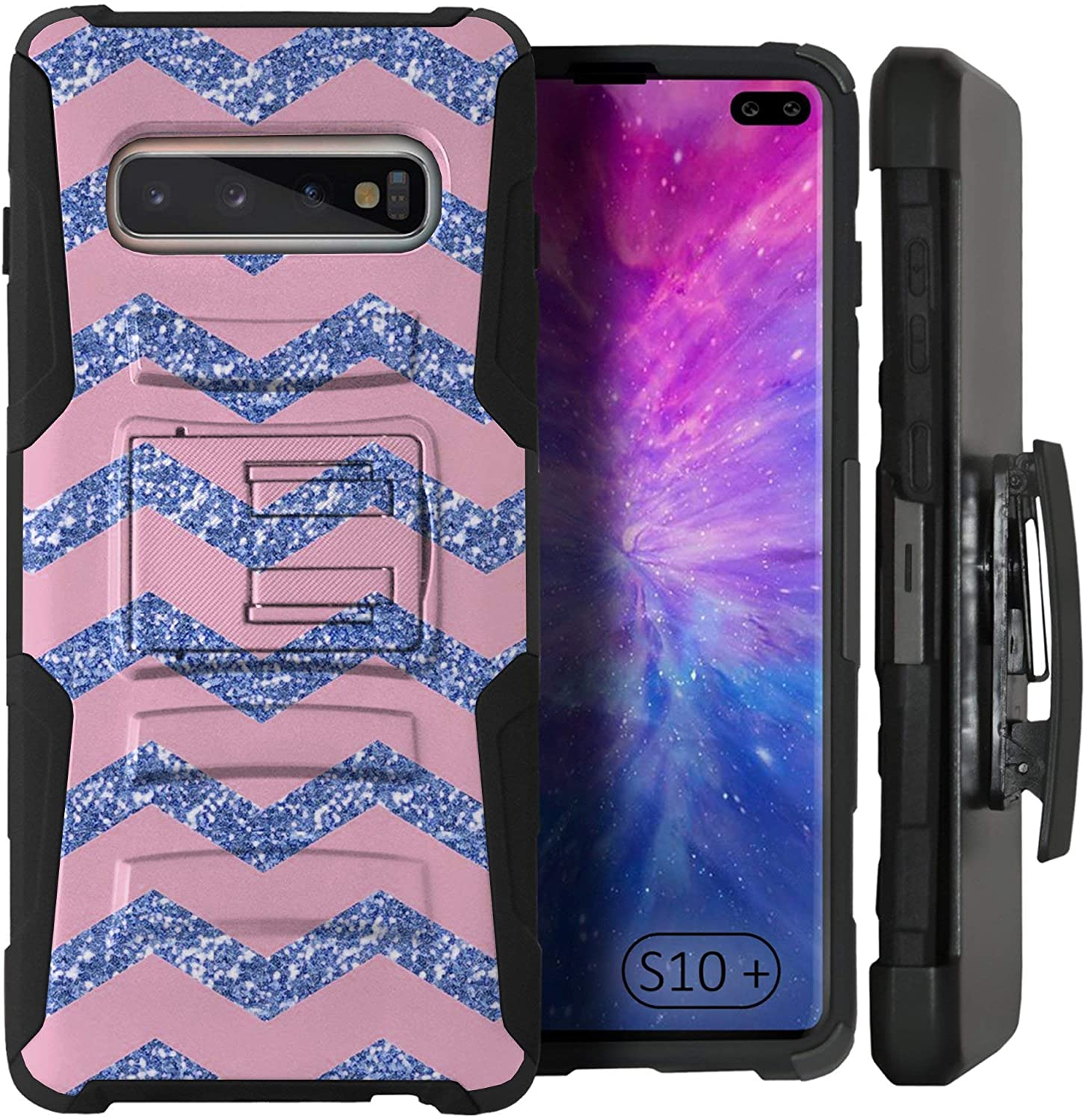 CasesOnDeck Holster Case Compatible with [ Samsung Galaxy S10+ / S10 Plus] Tough Rugged Kickstand Armor Case with Belt Clip (Blue Chevron)