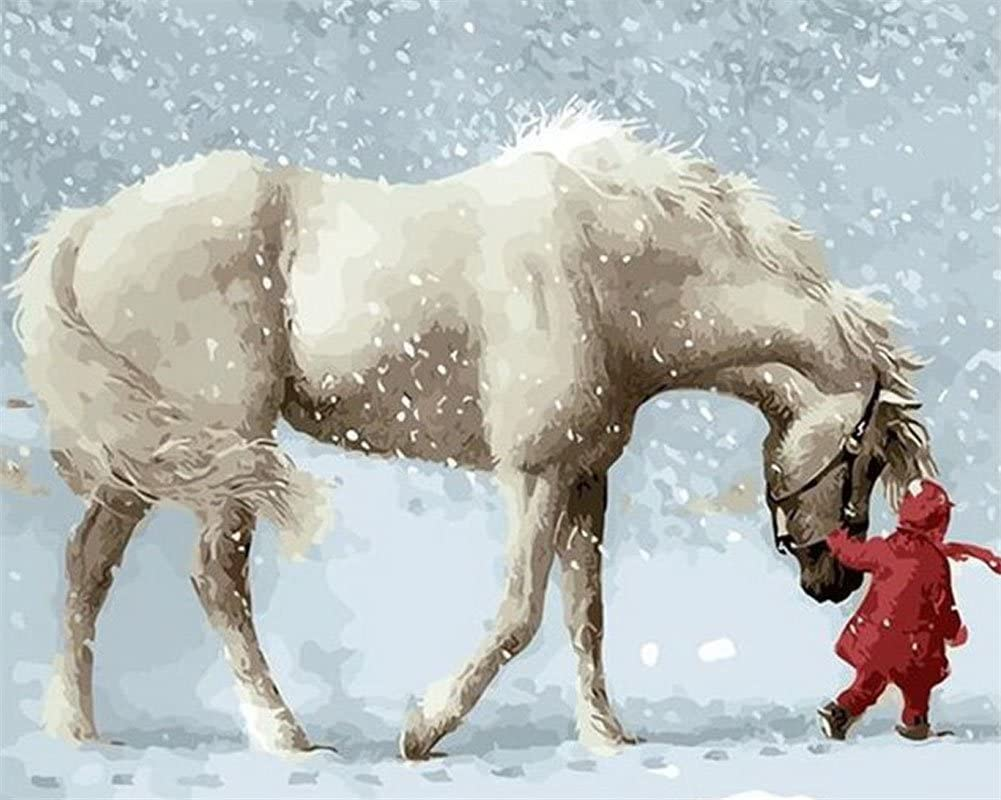 YEESAM ART Paint by Numbers for Adults Kids, White Horse Little Girl 16x20 Inch Linen Canvas Acrylic DIY Number Painting Kits Wall Art Decor Gifts (NO Frame)