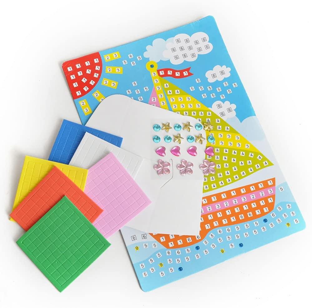 Mosaic Sticker Art Kits for Kids DIY Mosaic Stickers Craft Sparkle Glittery Sticky Mosaic Tiles Rhinestone Sticker Games Activity Handmade Puzzle Drawing for Preschool Boys Girls