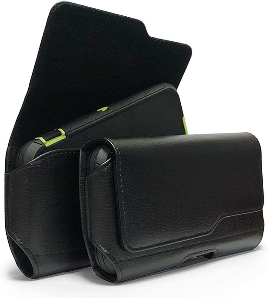 Classic Leather Belt Clip Loop Holster Pouch Sleeve Flip Phone Holder for Motorola Moto Z3 Play Fit with Otterbox Defender Case/Lifeproof Case/Hybrid Armor Case/Battery Back Case On - Black