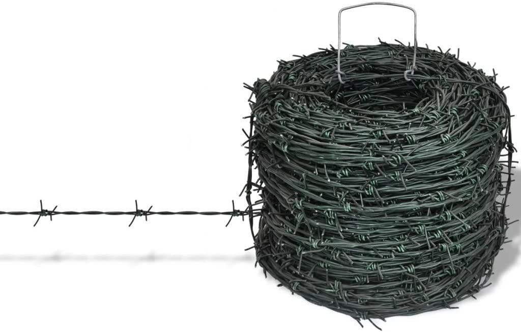 EBTOOLS Ribbon Galvanized Barbed, Galvanised Steel Razor Wire Roll Garden Fence Ribbon Barbed Wire Fencing 100 m/328 ft