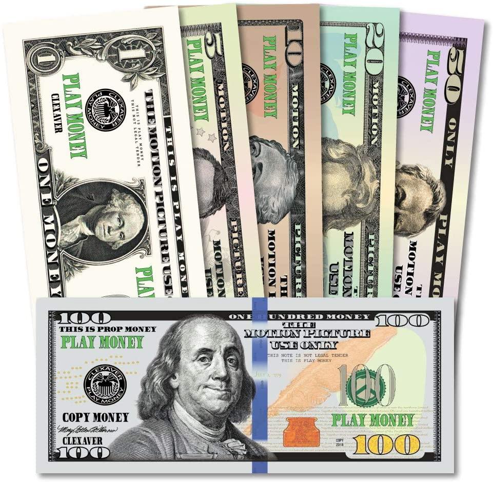 CLEXAVER Educational Play Money Set - Full Print 2 Sided - Bills of 1, 5, 10, 20, 50, 100 for Monopoly, Photo, Pranks