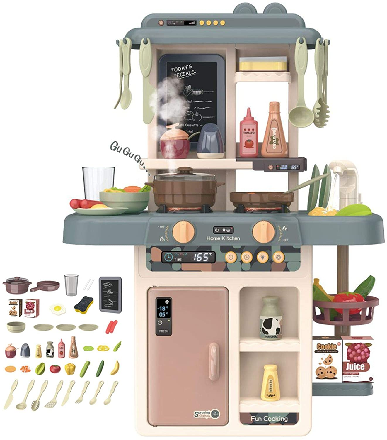Kids Kitchen Playset 39PCs Set Mini Pretend Role Play Cooking Toys with Real Lights & Sounds Fun with Friends Party Games Girls Boys Christmas New Years Gifts Fast US 7-10days Delivery