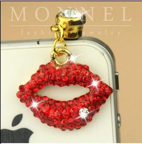 Ip183 Sexy Crystal Red Lip Anti Dust Plug Cover Charm for iPhone 4 4s