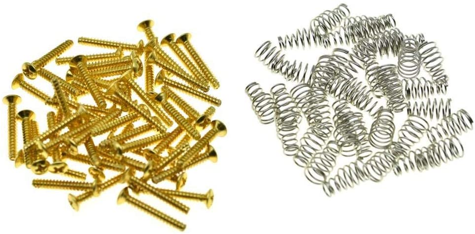 KAISH Pack of 50 Metric Thread M3 Single Coil Pickup Mounting Screws and Springs 321.5mm for ST Strat Tele Telecaster Gold