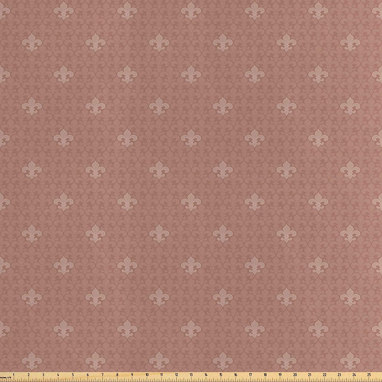 Lunarable Fleur De Lis Fabric by The Yard, Fleur-de-Lis Pattern 3 Petals Classic Floral Monochrome Art, Decorative Satin Fabric for Home Textiles and Crafts, 1 Yard, Pale Brown Sand Brown