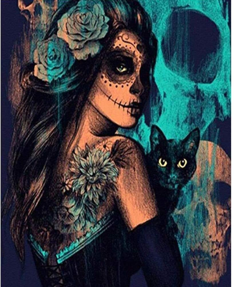 """DIY Paint by Numbers Kit for Adults - Magic Cat and Girl 