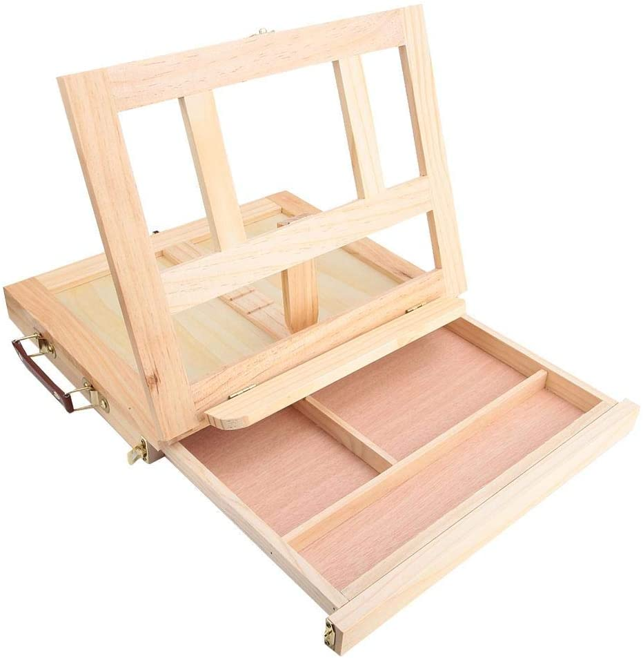 Yencoly Artist Sketch Box and Table Artist Easel,Adjustable Folding Artist Easel Drawing Painting Portable Tabletop Easel Box with Drawer Wood Table Top Easel for Painting
