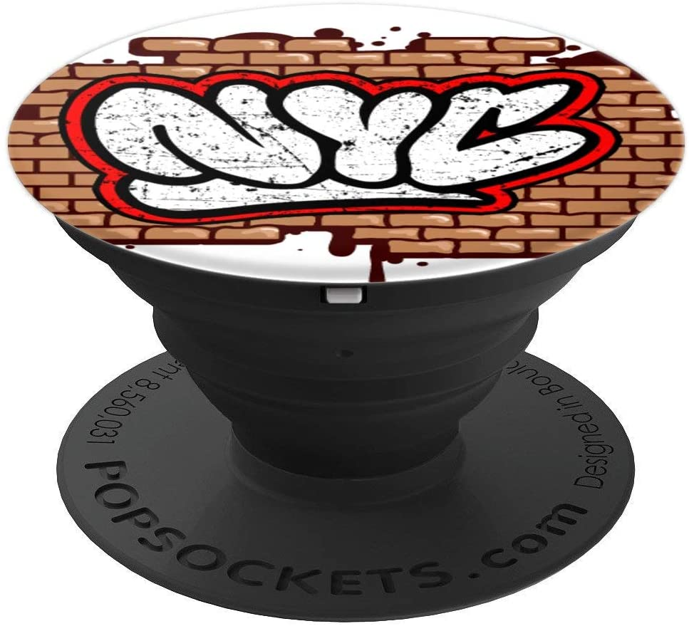 New York City - NYC Graffiti Art on Brick Wall - White Back PopSockets Grip and Stand for Phones and Tablets