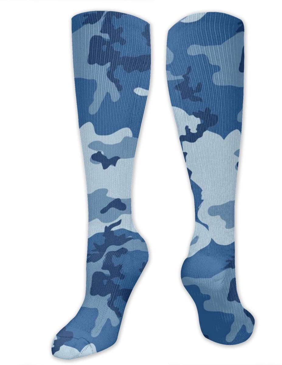 Compression Socks for Women Men Nurses Runners - Best Medical Stocking for Travel, Maternity, Running, Athletic, Varicose Veins - Army Camouflage 3D Print Blue